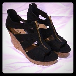 Black Strap Wedge Heels with Zipper Style
